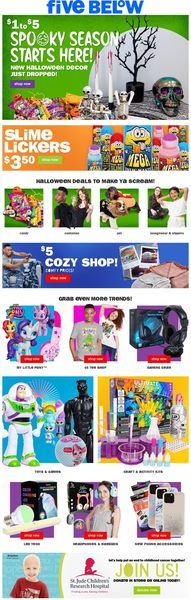 Catalogue Five Below from 09/29/2021