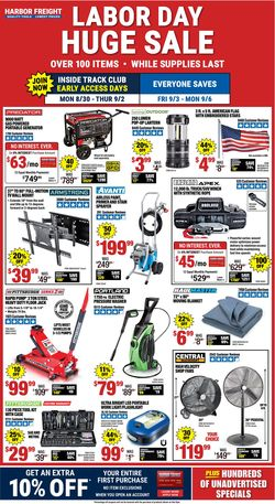 Catalogue Harbor Freight from 08/30/2021