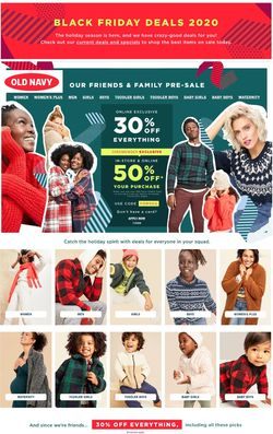 Catalogue Old Navy Black Friday 2020 from 11/06/2020