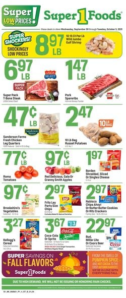 Catalogue Super 1 Foods from 09/29/2021