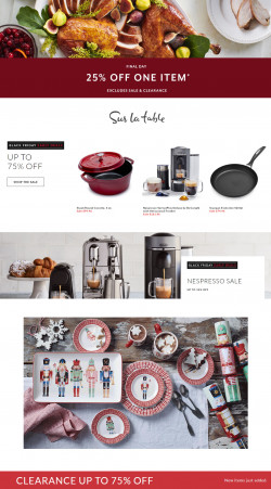 Catalogue Sur La Table Black Friday Ad 2019 from 11/26/2019